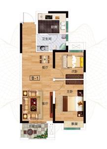 B-1户型 两室两厅两卫 约71.43㎡