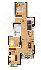D-2户型 三室两厅两卫 约89.67㎡