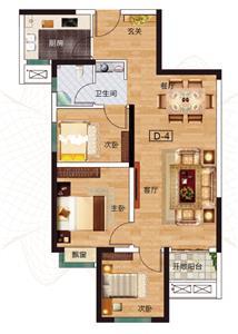 D-4户型 三室两厅两卫 约88.85㎡