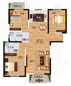 F-2户型 三室两厅两卫 约127.91㎡