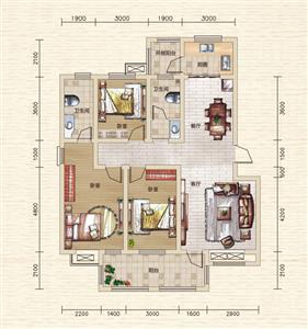 A1户型 三室两厅两卫 约129.36㎡