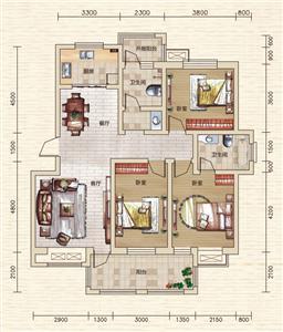 C1/E2/E2户型 三室两厅两卫 约112.13㎡