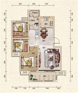 F1户型 三室两厅一卫 约85.09㎡